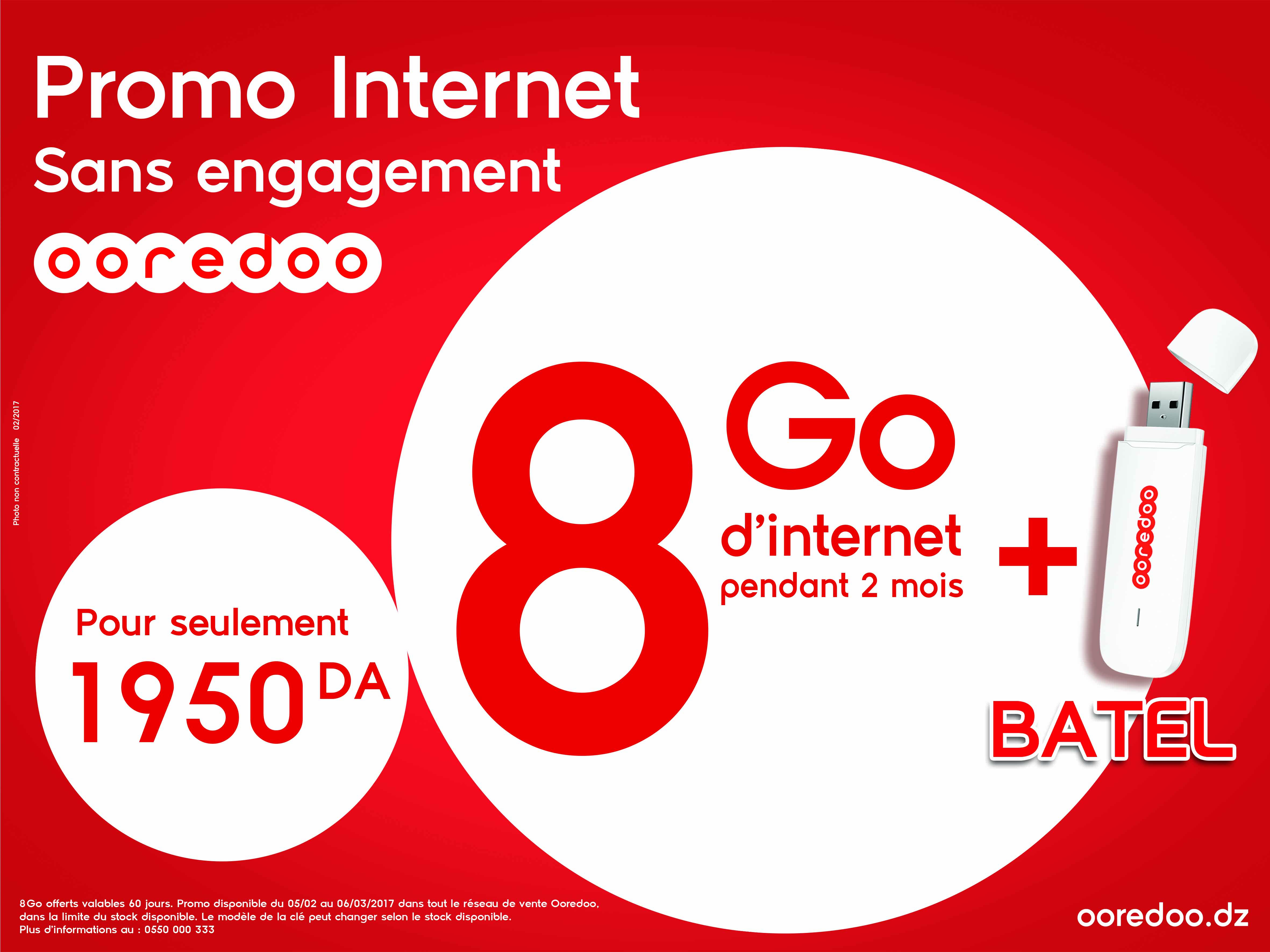 promo internet 8 go sans engagement de ooredoo avec 1950. Black Bedroom Furniture Sets. Home Design Ideas